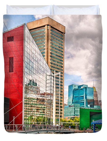 City - Baltimore MD - Harbor Place - Future City  Duvet Cover by Mike Savad