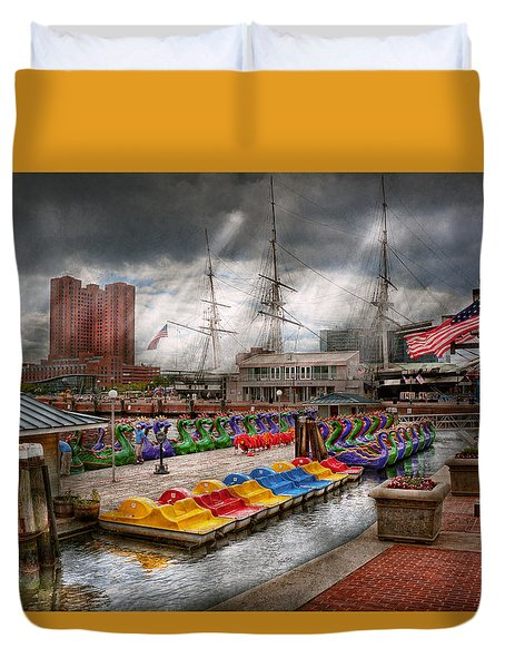 City - Baltimore Md - Modern Maryland Duvet Cover by Mike Savad