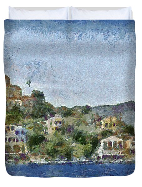 City by the Sea Duvet Cover by Ayse Deniz