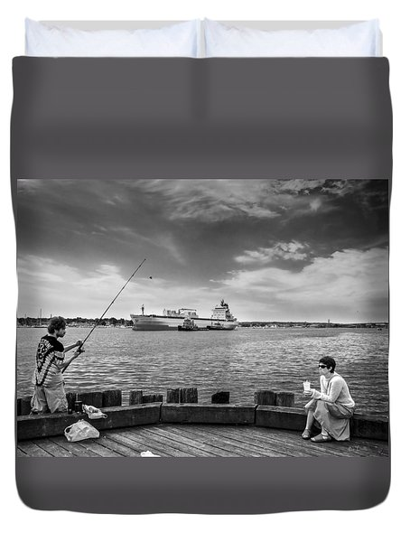 City Fishing Duvet Cover by Bob Orsillo