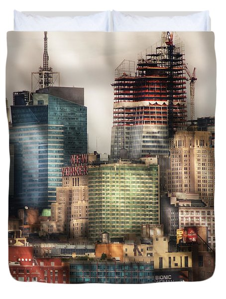 City - Hoboken Nj - New York Skyscrapers Duvet Cover by Mike Savad
