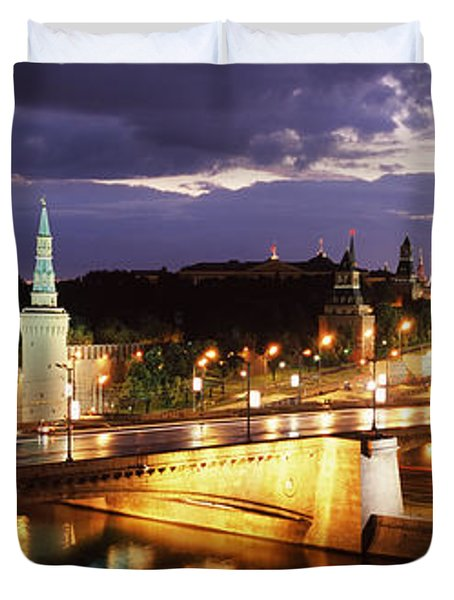 City Lit Up At Night, Red Square Duvet Cover by Panoramic Images