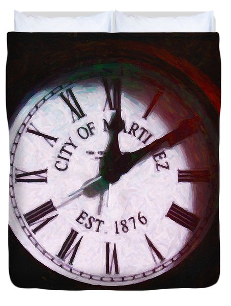 City Of Martinez California Town Clock - 5d20862 - Painterly Duvet Cover by Wingsdomain Art and Photography