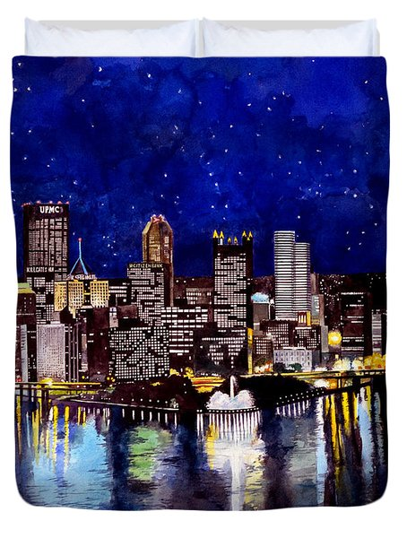 City Of Pittsburgh At The Point Duvet Cover by Christopher Shellhammer