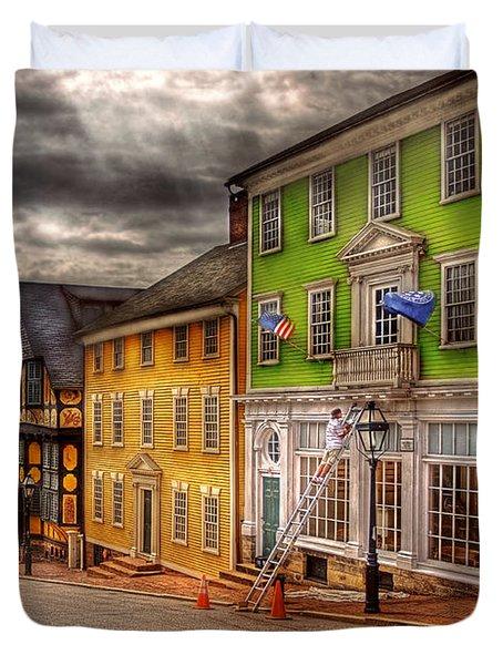 City - Providence Ri - Thomas Street Duvet Cover by Mike Savad