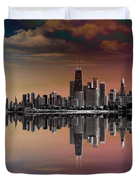 City Skyline Dusk Duvet Cover by Bedros Awak