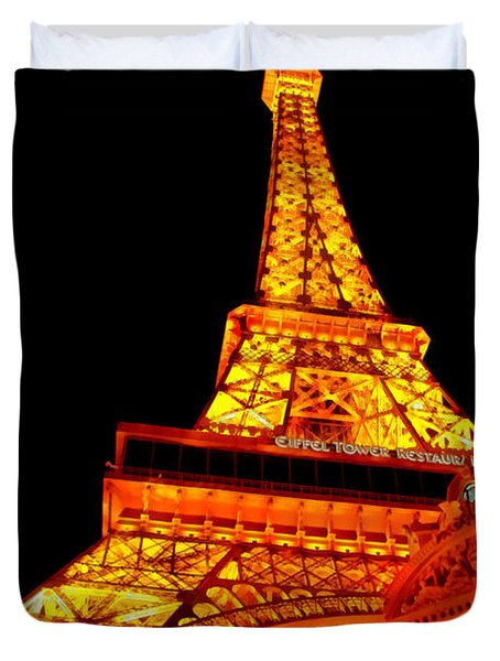 City - Vegas - Paris - Eiffel Tower Restaurant Duvet Cover by Mike Savad