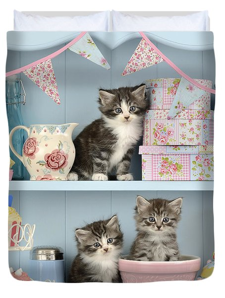 Baking Shelf Kittens Duvet Cover by Greg Cuddiford
