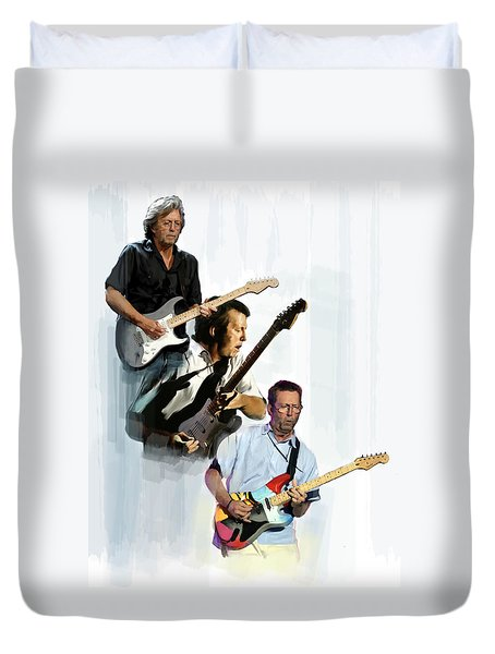 Clapton Eric Clapton Duvet Cover by Iconic Images Art Gallery David Pucciarelli