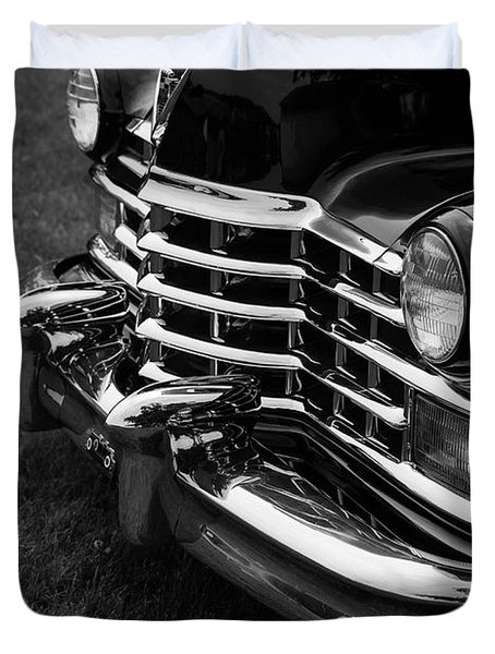 Classic Cadillac Sedan Black And White Duvet Cover by Edward Fielding