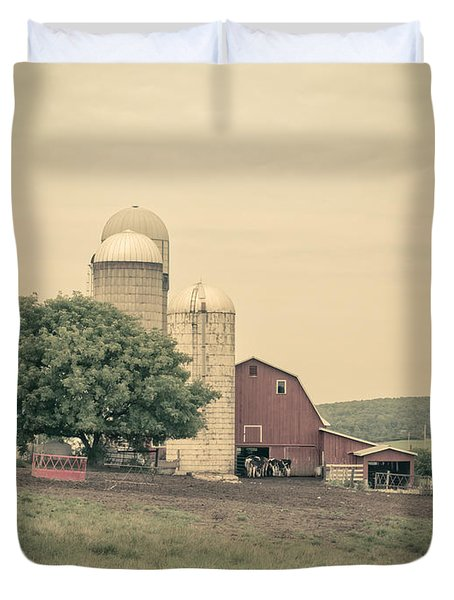 Classic Farm With Red Barn And Silos Duvet Cover by Edward Fielding