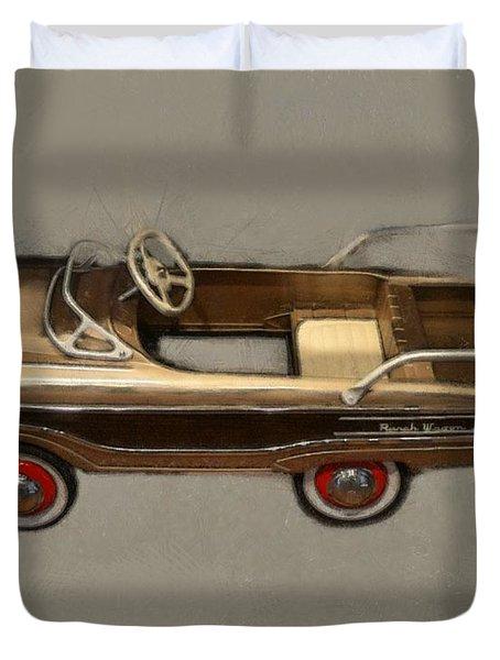 Classic Ranch Wagon Pedal Car Duvet Cover by Michelle Calkins