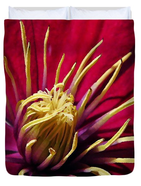 Clematis Center in Oils Duvet Cover by Chris Berry