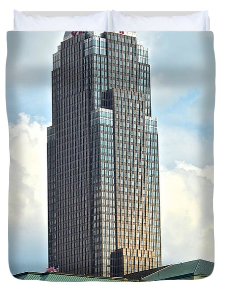 Cleveland Key Bank Building Duvet Cover by Frozen in Time Fine Art Photography