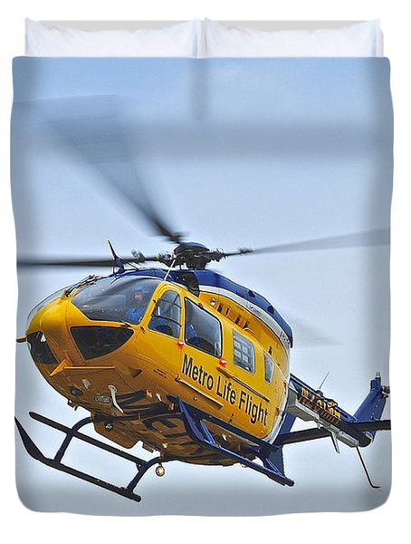 Cleveland Metro Life Flight Duvet Cover by Frozen in Time Fine Art Photography