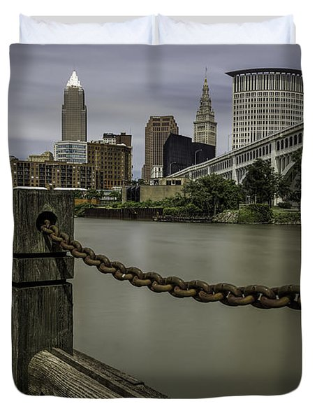 Cleveland Ohio Duvet Cover by James Dean