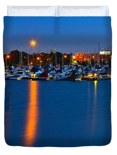 Cleveland Ohio Skyline Duvet Cover by Frozen in Time Fine Art Photography