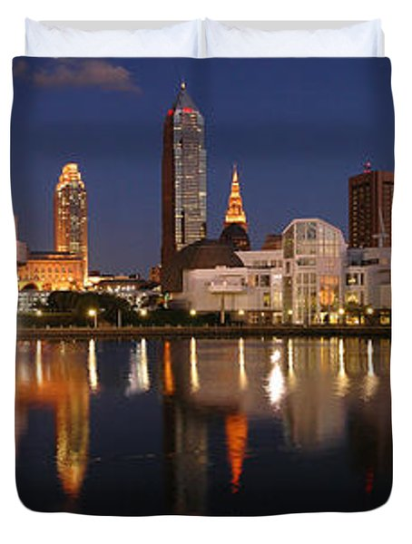 Cleveland Skyline At Dusk Duvet Cover by Jon Holiday