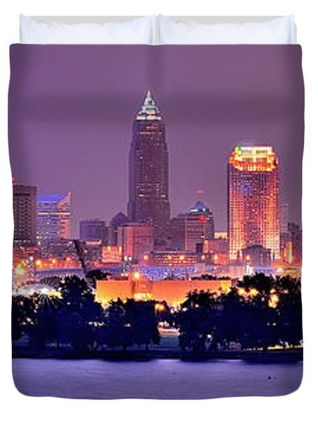 Cleveland Skyline at Night Evening Panorama Duvet Cover by Jon Holiday