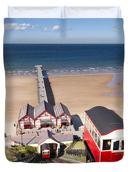 Cliff Railway Saltburn By The Sea Duvet Cover by Colin and Linda McKie