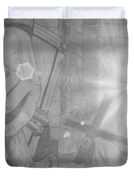 Clinging To The Cross Lights Duvet Cover by Justin Moore