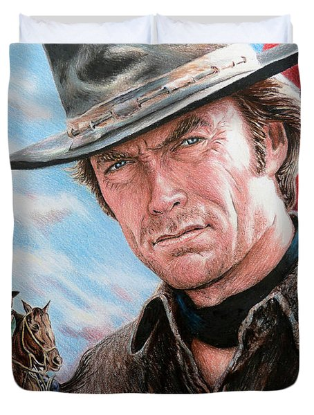 Clint Eastwood American Legend Duvet Cover by Andrew Read