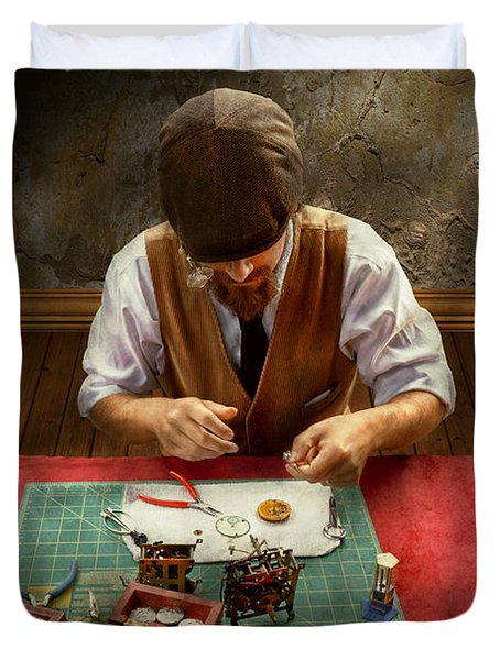 Clockmaker - A Demonstration In Horology Duvet Cover by Mike Savad