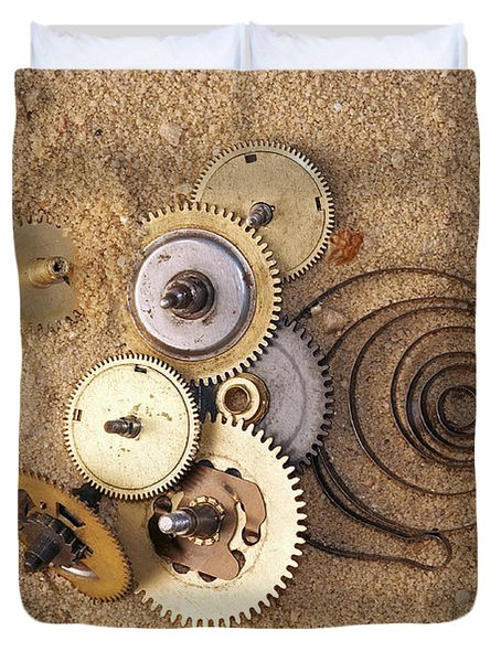 Clockwork Mechanism On The Sand Duvet Cover by Michal Boubin