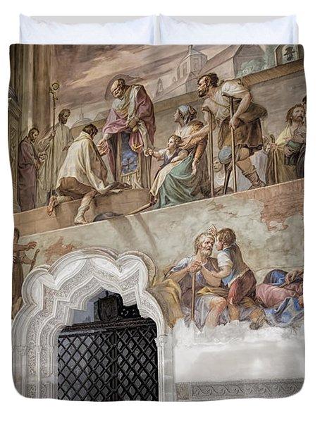 Cloister Fresco Duvet Cover by Joan Carroll