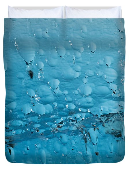 Close Up Of Air Bubbles In Iceberg Duvet Cover by Ray Bulson
