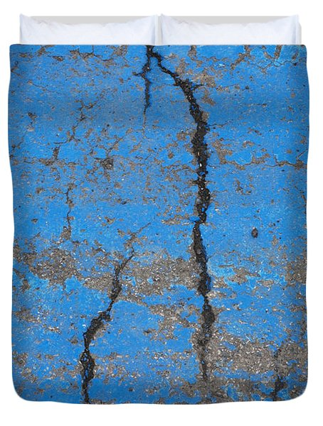 Close Up Of Cracks On A Blue Painted Duvet Cover by Perry Mastrovito