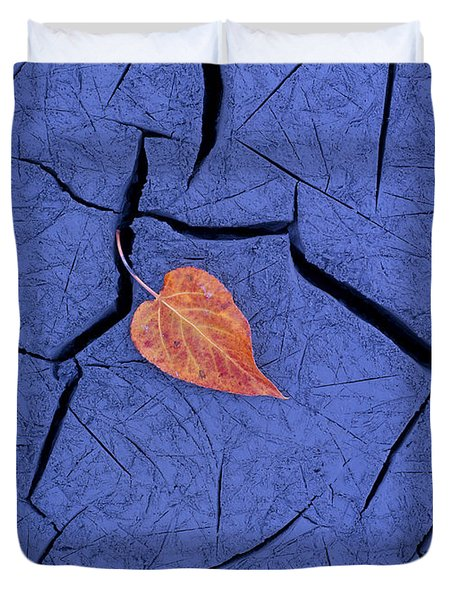 Closeup Of Autumn Colored Cottonwood Duvet Cover by Carl R. Battreall