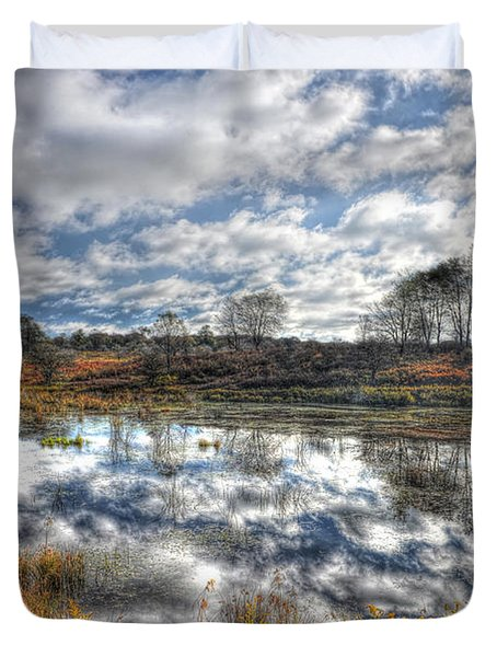 Cloud Reflections In Beaver Pond Canaan Valley Duvet Cover by Dan Friend