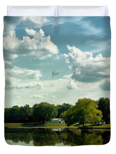 Cloudy Reflections Duvet Cover by Kim Hojnacki