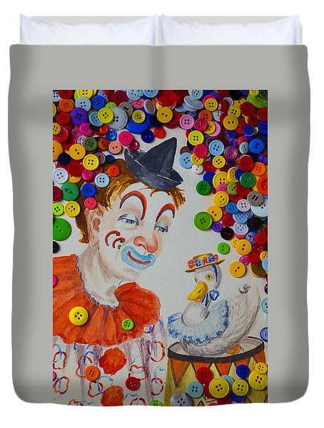 Clown And Duck With Buttons Duvet Cover by Garry Gay