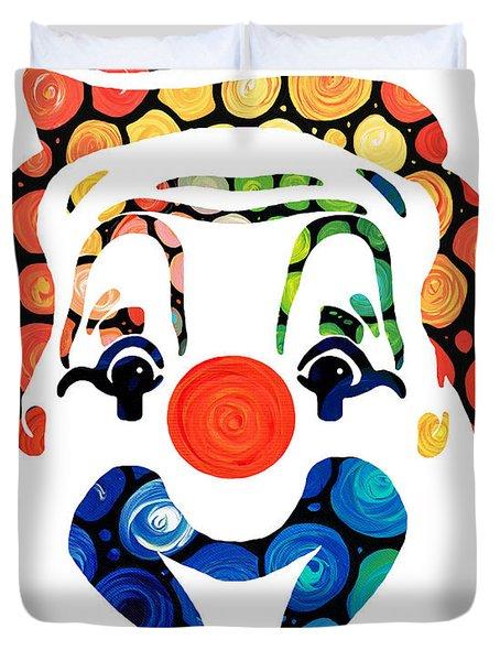 Clownin Around - Funny Circus Clown Art Duvet Cover by Sharon Cummings