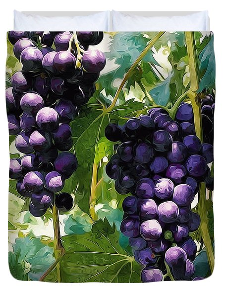 Clusters Of Red Wine Grapes Hanging On The Vine Duvet Cover by Lanjee Chee
