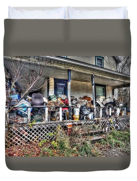 Clutter House Porch  Duvet Cover by Dan Friend