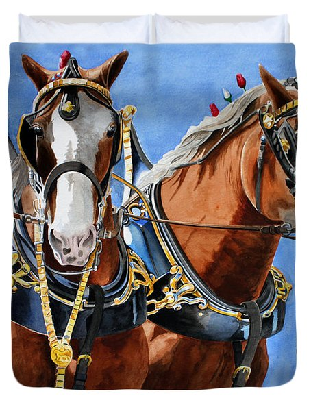 Clydesdale Duo Duvet Cover by Debbie Hart