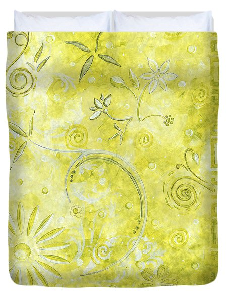 Coastal Decorative Citron Green Floral Greek Checkers Pattern Art GREEN WHIMSY by MADART Duvet Cover by Megan Duncanson