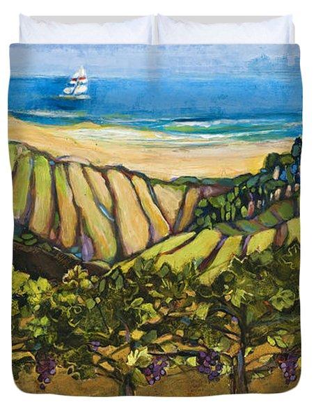 California Coastal Vineyards And Sail Boat Duvet Cover by Jen Norton