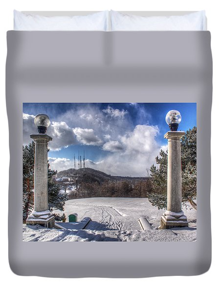 Cobbs Hill Park In Winter Duvet Cover by Tim Buisman