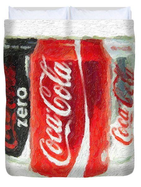 Coca Cola Art Impasto Duvet Cover by Antony McAulay