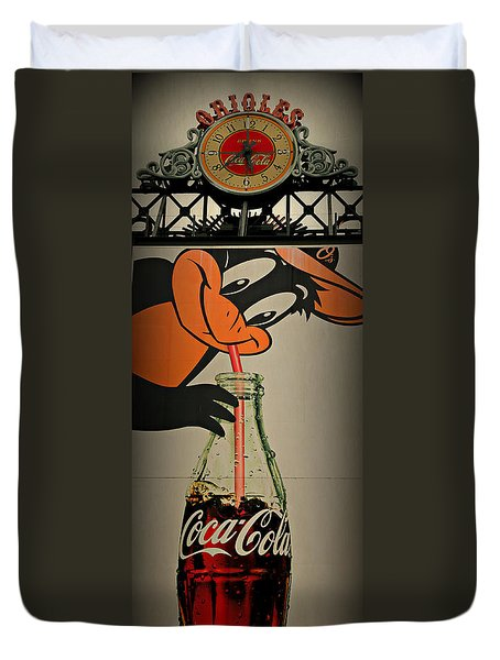 Coca Cola Orioles Sign Duvet Cover by Stephen Stookey