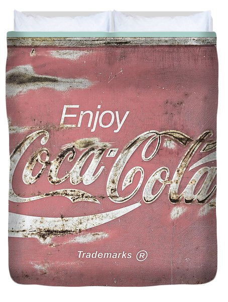 Coca Cola Pastel Grunge Sign Duvet Cover by John Stephens