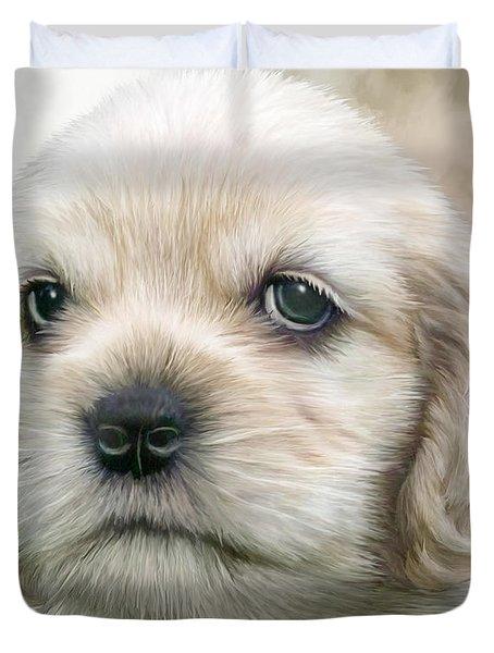 Cocker Pup Portrait Duvet Cover by Carol Cavalaris