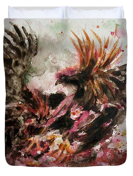 Cockfight Duvet Cover by Zaira Dzhaubaeva
