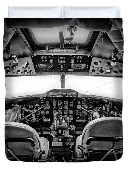 cockpit of a DC3 Dakota Duvet Cover by Paul Fell