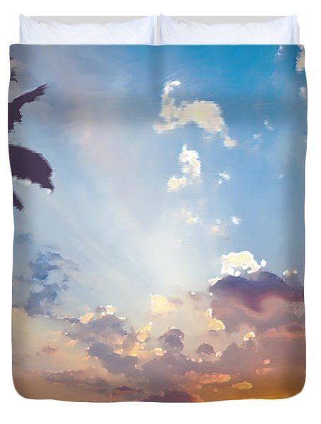 Coconut Trees In The Sunset Duvet Cover by Dominique Amendola