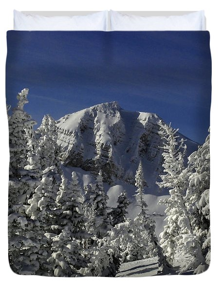 Cody Peak After A Snow Duvet Cover by Raymond Salani III